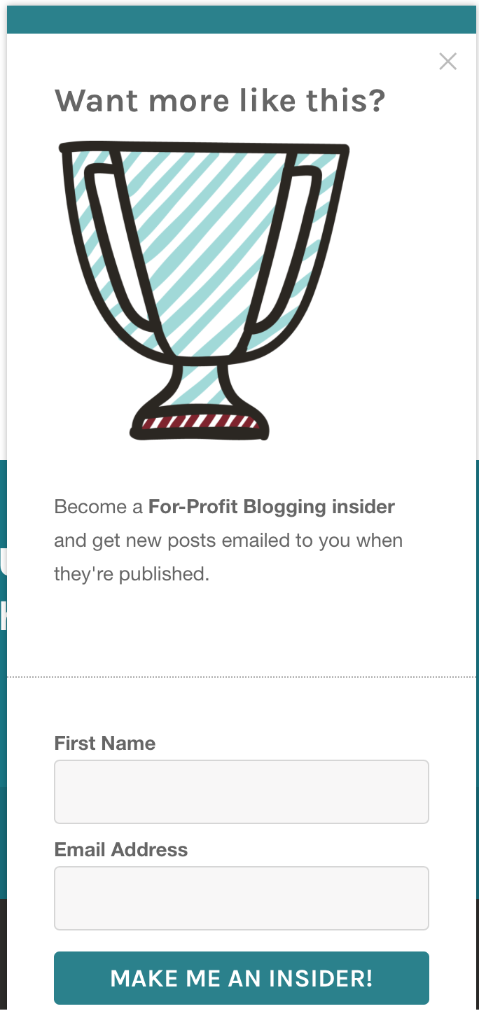 ConvertKit form with a bigger picture for profit blogging