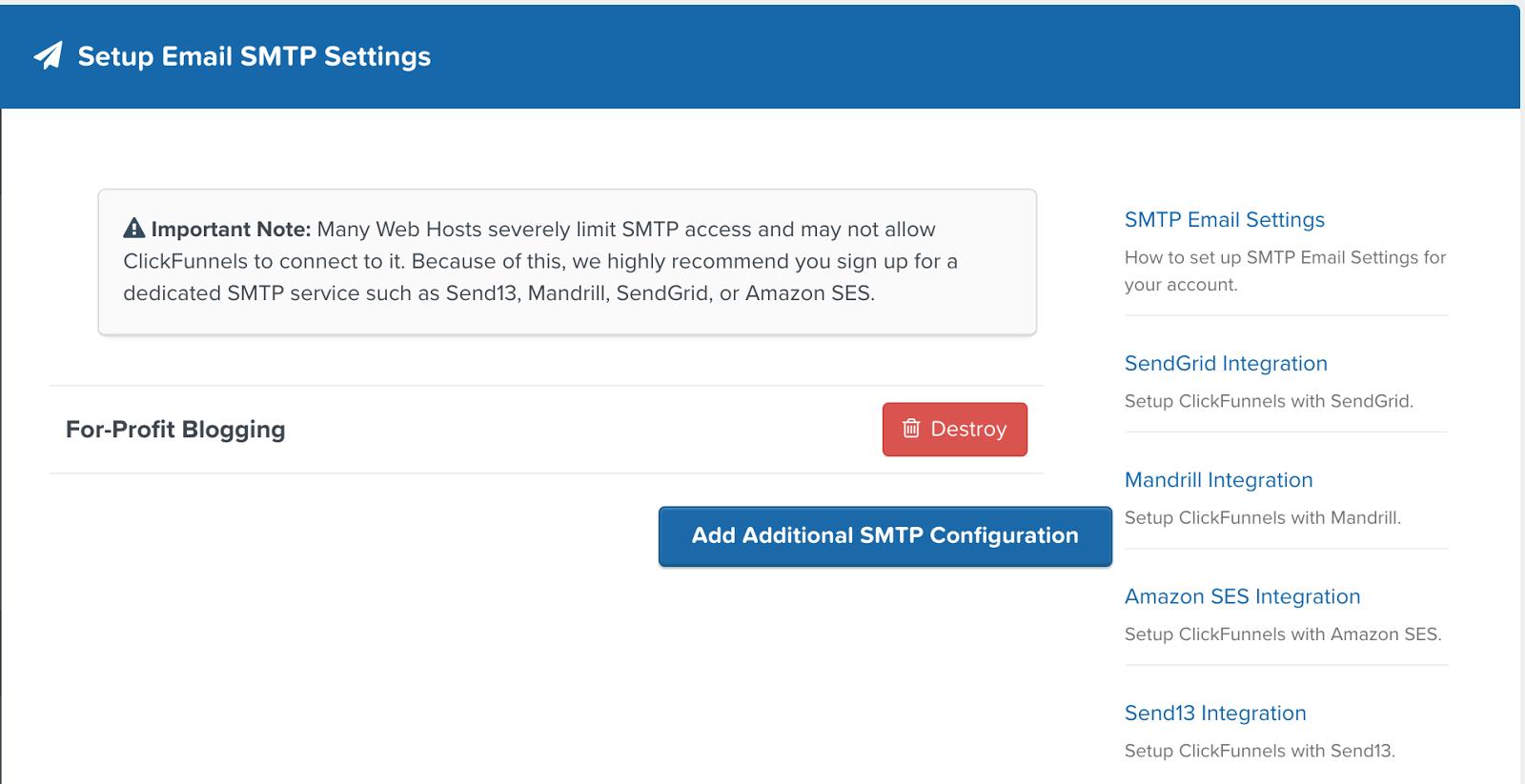 SMTP ClickFunnels