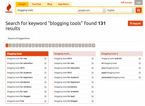 keywordtool.io: 45 tools every blogger needs -- For Profit Blogging