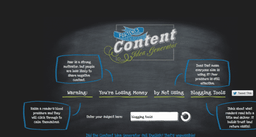 Portent's Content idea generator: 45 tools every blogger needs -- For Profit Blogging