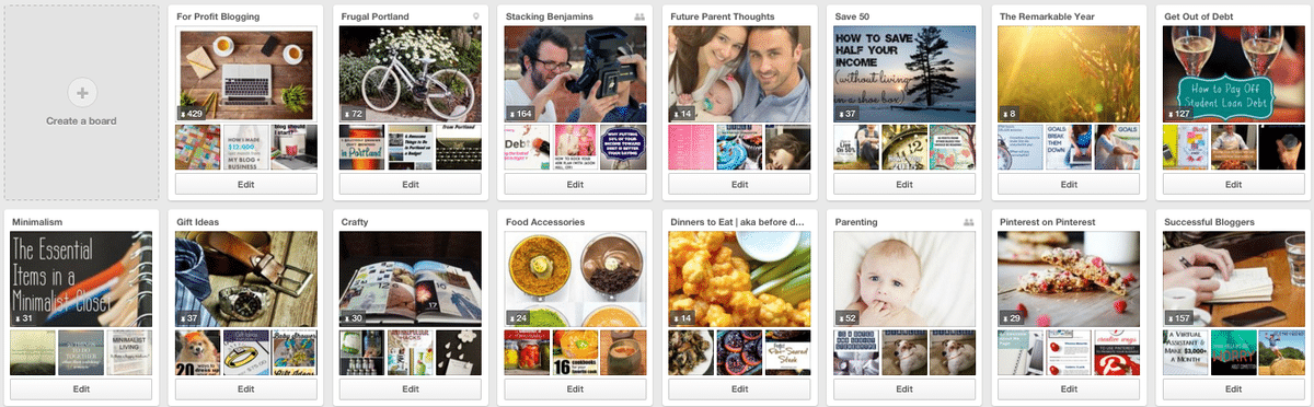 Top two rows of Pinterest boards are most important