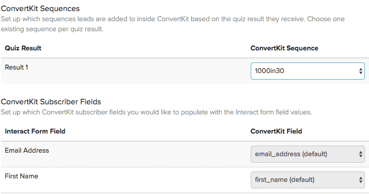 convertkit options in interact
