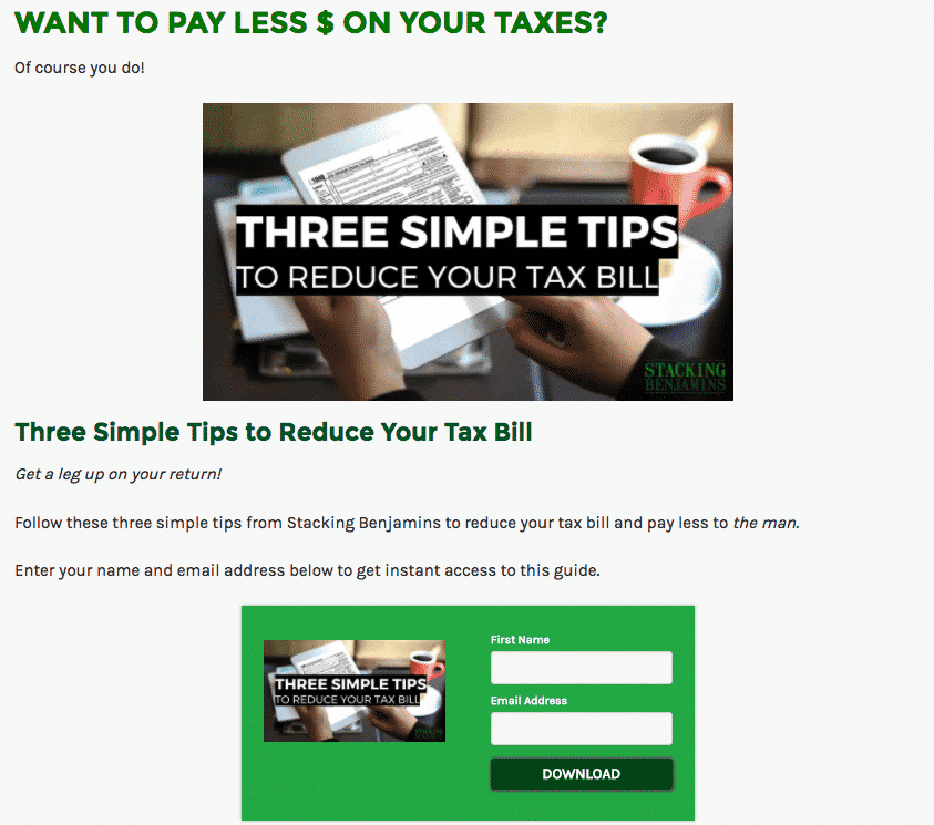 reduce tax bill landing page