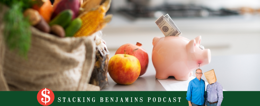 piggy bank with money, apple on table, self-care episode featurd image